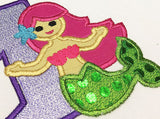 Cute Mermaid Applique GRL014