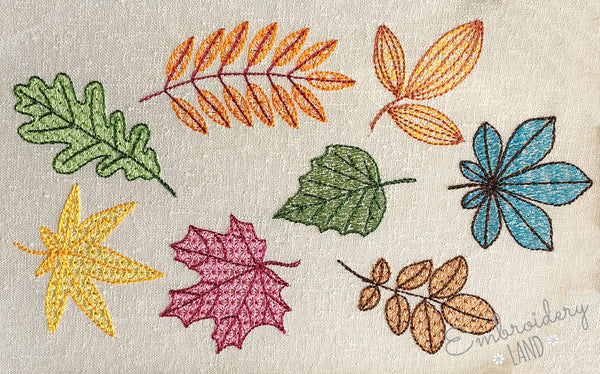 Fall Leaves Motif Filled Embroidery Designs Set DE056