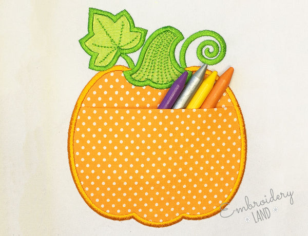 Pumpkin Real Pocket Applique ITH026