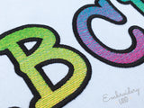 Rainbow Smarty Filled Embroidery Font AL045