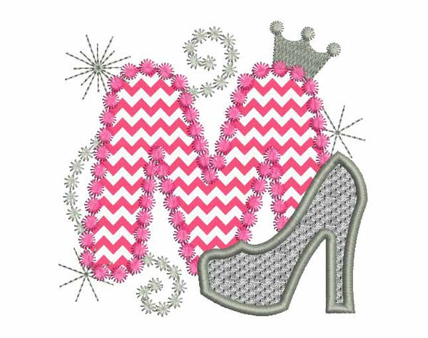 Pink Silver Letter M High Heel Shoe  Applique DL002