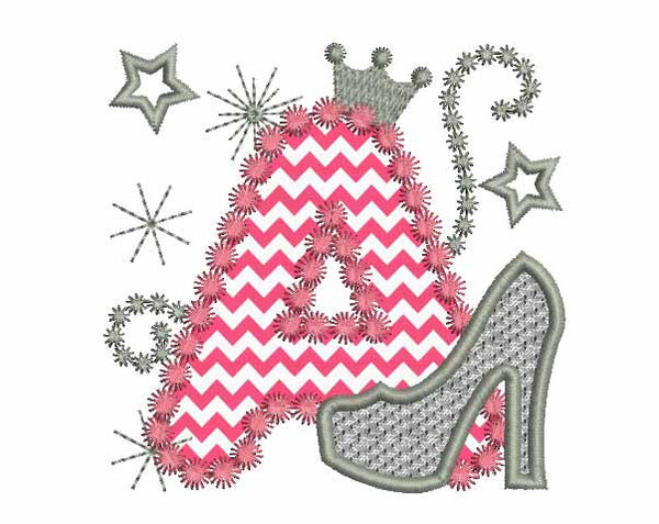 Pink Silver Letter A High Heel Shoe DL004