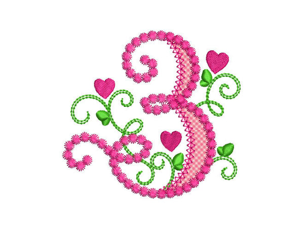 Cute Number 3 For Lil Princess Applique Design By