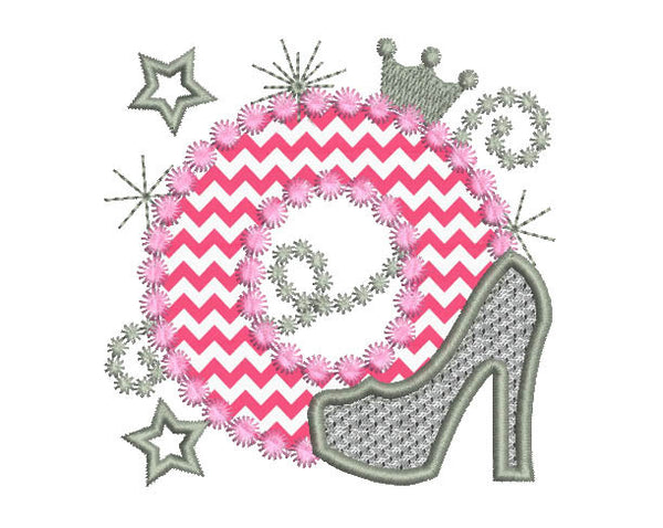 Pink Silver Letter O High Heel Shoe for Cute Girls Appliqué DL017