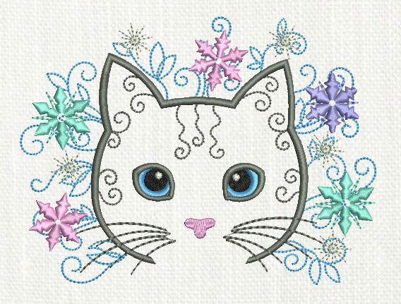 Snowflakes Cat Embroidery Design AN018