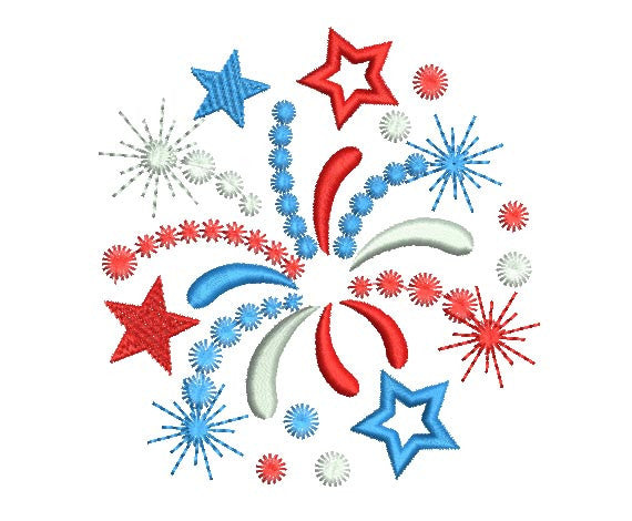 Firework 4th July Machine Embroidery Design DE010