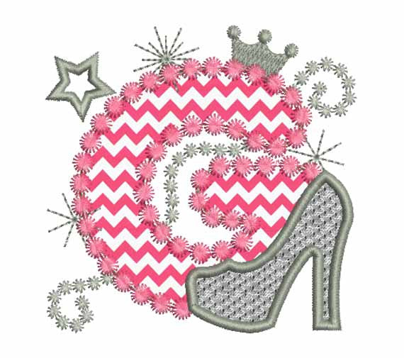 Pink Silver Letter G High Heel Shoe Appliqué DL007
