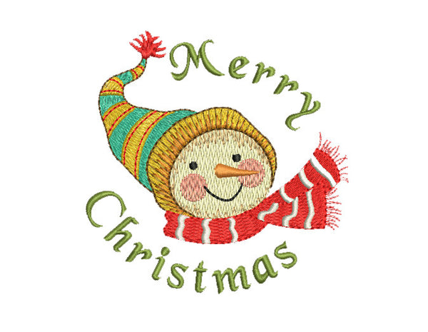 Christmas Snowy Joy Snowman Embroidery Design CHR015