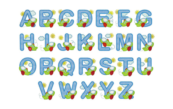 Airplane Applique Alphabet AL011
