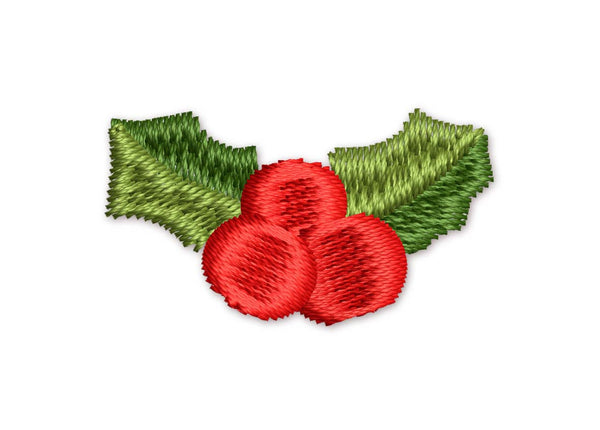 Christmas Holly Mini Filled Embroidery Design M7