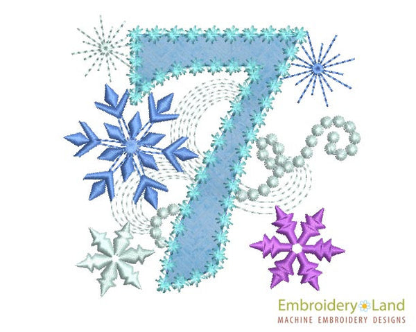 Ice Princess Number 7 Applique HB027