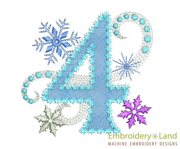 Ice Princess Applique Number 4 HB024