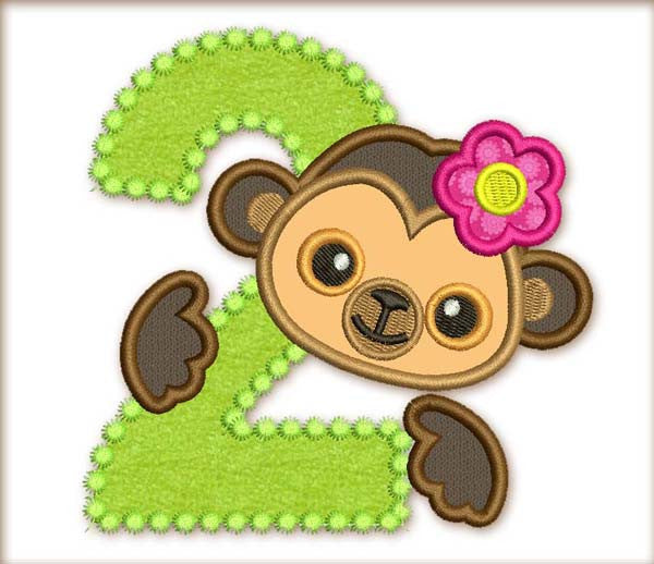 Monkey Birthday Number 2 Applique HB019