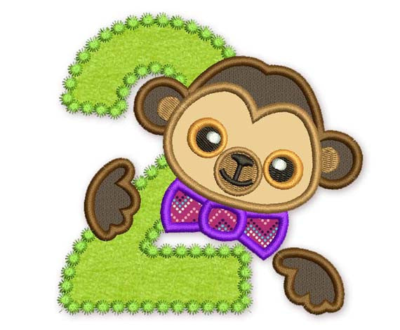Funny Monkey Number 2 Applique for Boys HB018