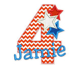 4th July Zigzag Applique Design DE009