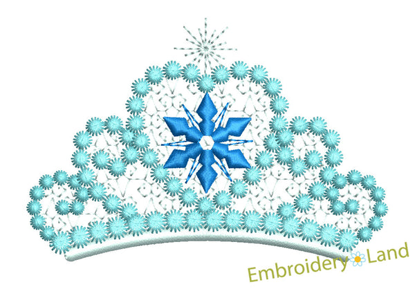 Ice Princess Tiara Embroidery Design GRL006