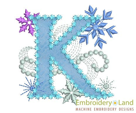 Ice Princess Letter K Frozen Applique Embroidery Design Embroideryland
