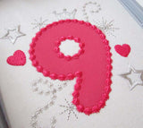 Pink Bithday Number 9 Applique HB012