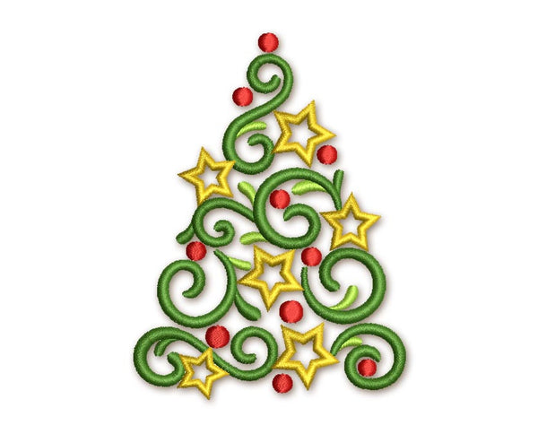 Christmas Tree Beautiful Elegant Embroidery Design CHR038