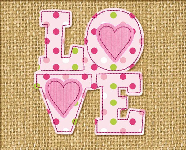 LOVE Free Edge Applique VA022