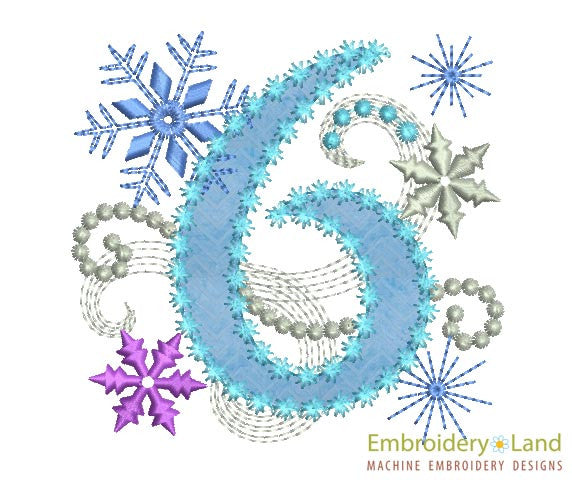 Ice Princess Number 6 Applique HB025