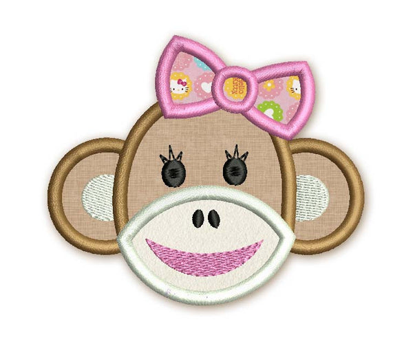 Sock monkey face applique embroidery design on for Sock monkey face template