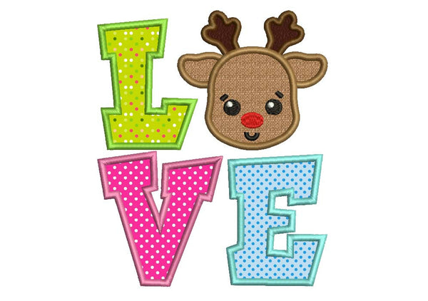 Christmas Reindeer Love Applique CHR045