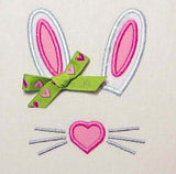 Bunny Ears Pink Heart T-Shirt Applique EA001