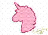 Unicorn Head Sillhouette Applique BA046
