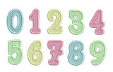 Filled and Satin Outline Numbers Set BS010