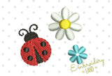 Cute Ladybug and Flowers Three Mini Designs Set DE055