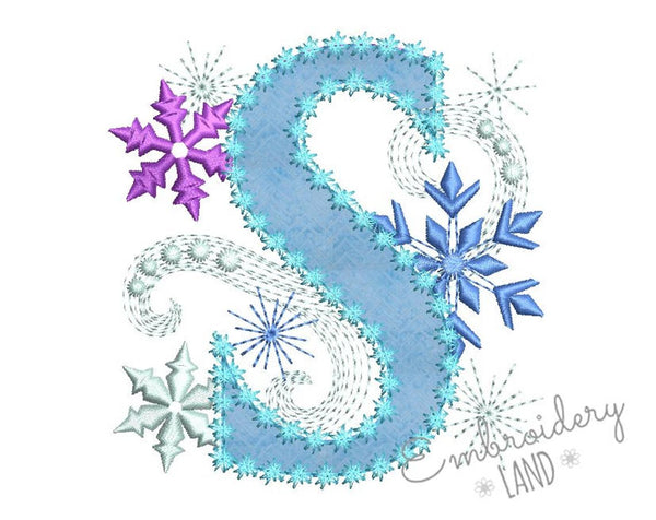 Ice Princess Applique Frozen Letter S  DL046