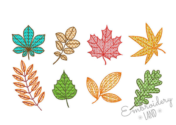 Fall Leaves Motif Filled Embroidery Designs Set By Embroideryland