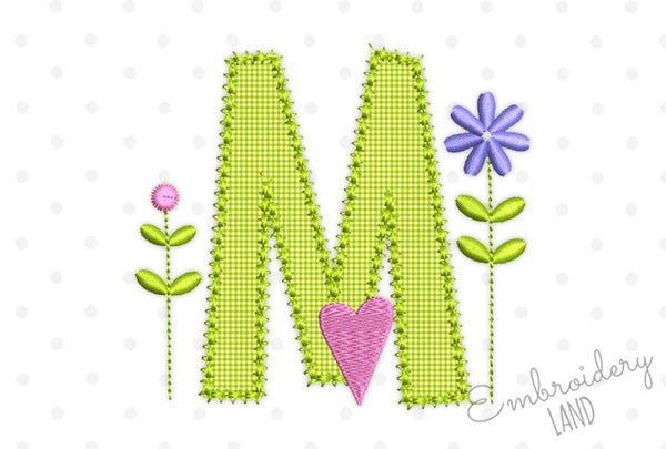 Romantic Letter M Applique DL206