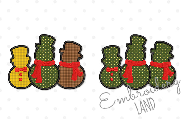 Three Snowmen Christmas Applique CHR128