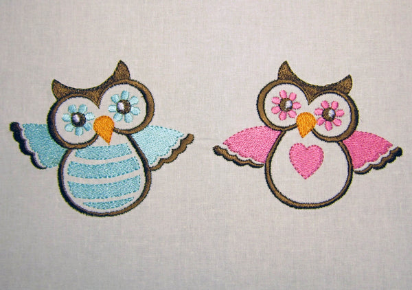 Blue Pink Owls Machine Embroidery Designs BA009