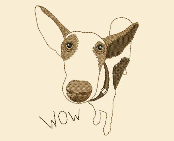 Wow Dog Funny Embroidery Design AN001