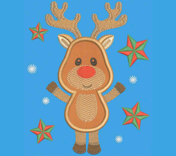 Christmas Reindeer Embroidery Applique CHR010