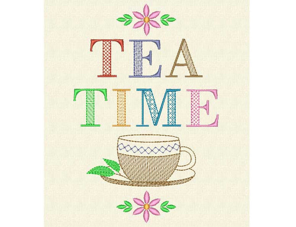 Tea Time Embroidery Design DE003