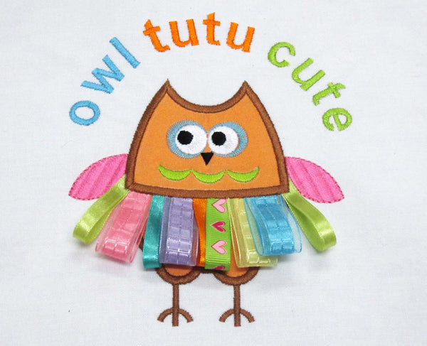 Funny Owl Tutu Cute Applique BA006
