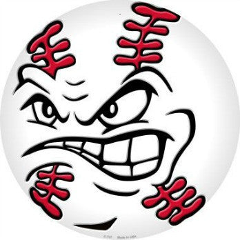 angry baseball face metal sign vintage style retro tin signs