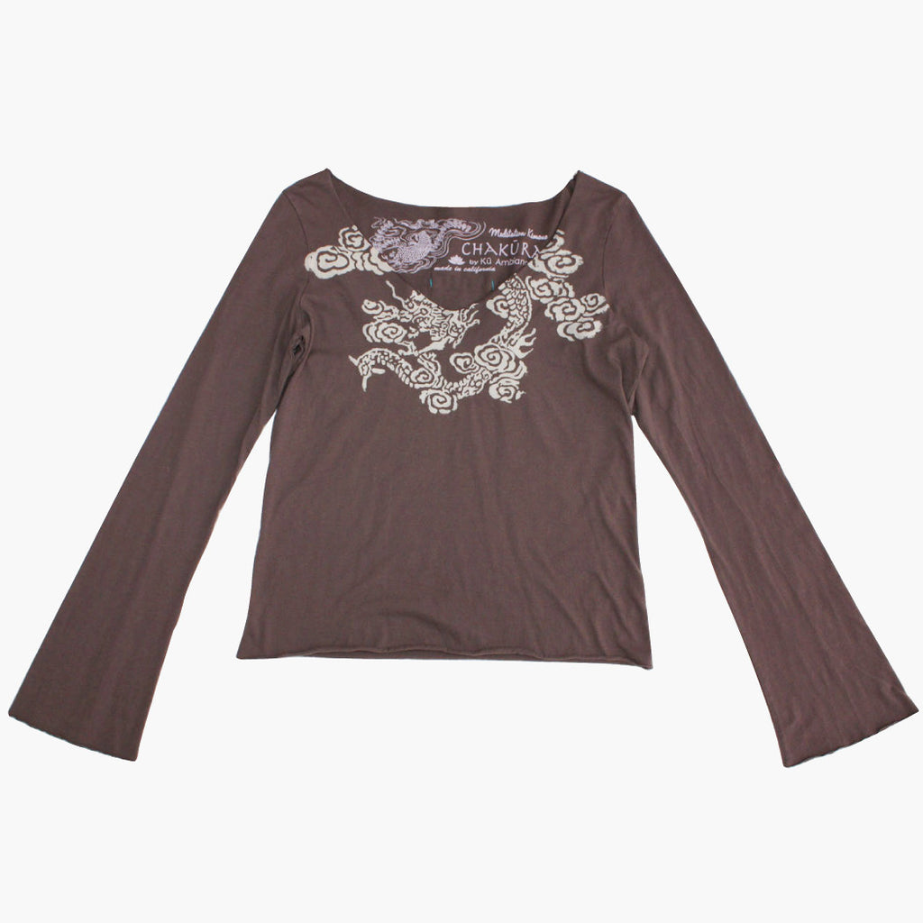 Ladies Long Sleeve V Neck Top with Watercolor Dragon - Ku Brands