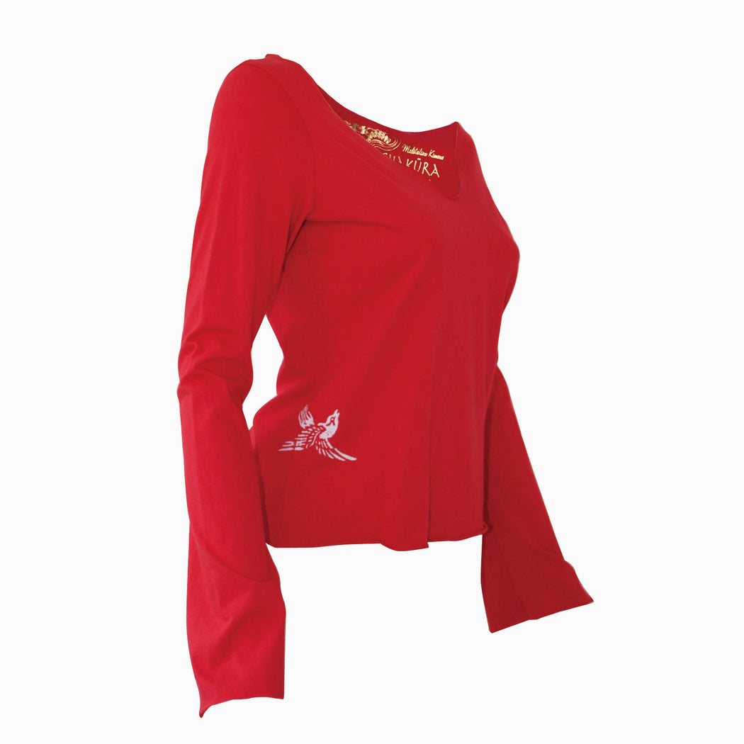 Ladies Long Sleeve V Neck Top with Small Bird Flying Up - Ku Brands