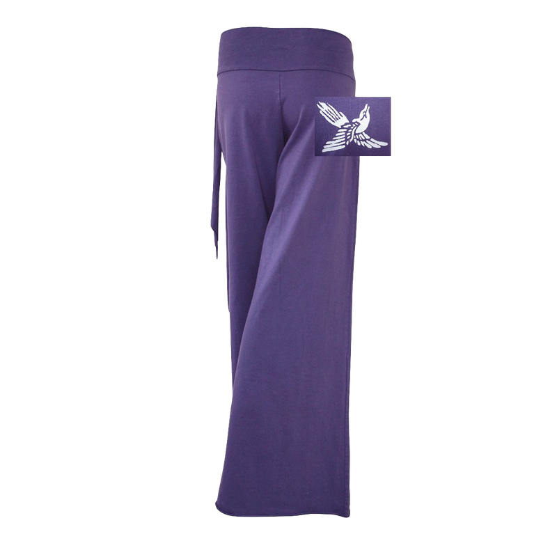 Premium Cotton Pants with Tie Waist and Small Bird Flying Up Print