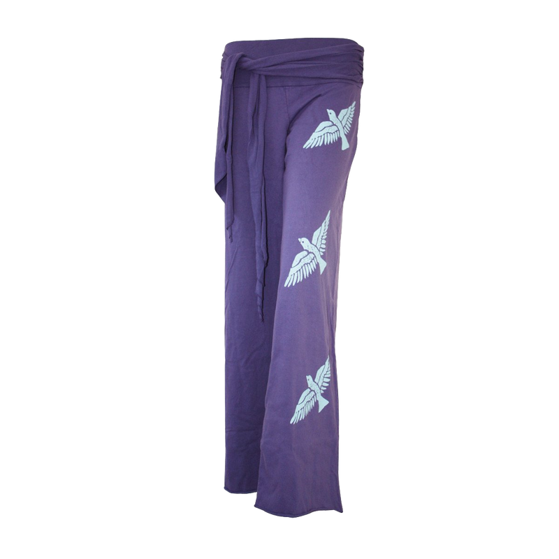 Premium Cotton Wide Pants with Tie Waist and Three Birds Print