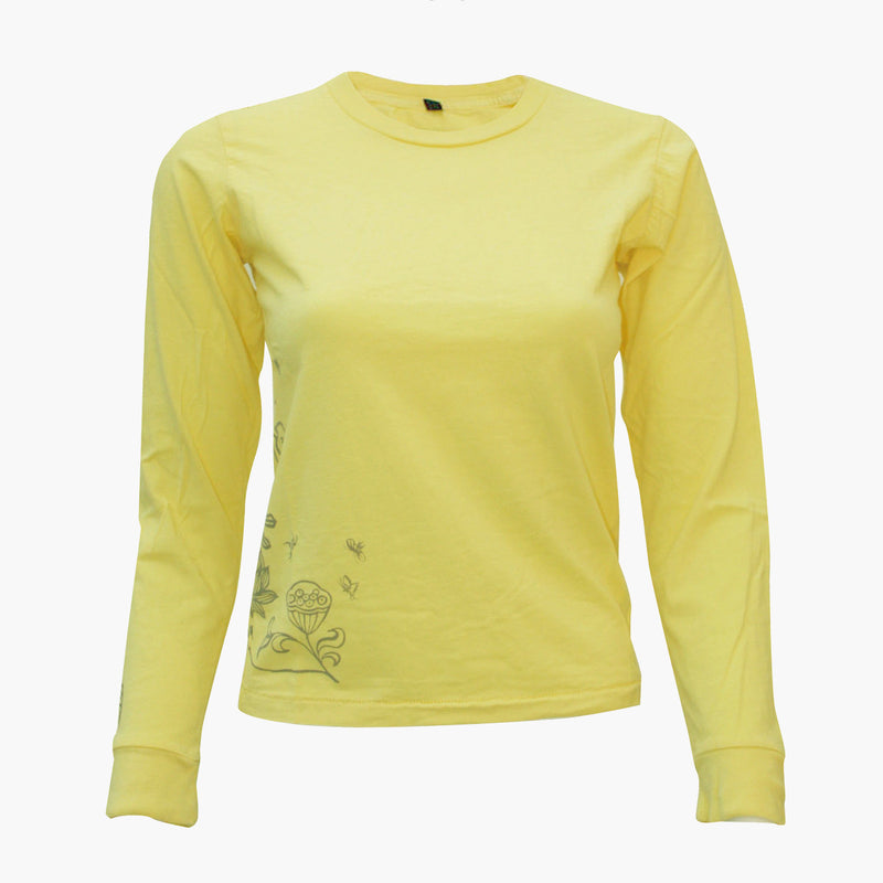Ladies Long Sleeve Tee with Buddha on Lotus - Ku Brands