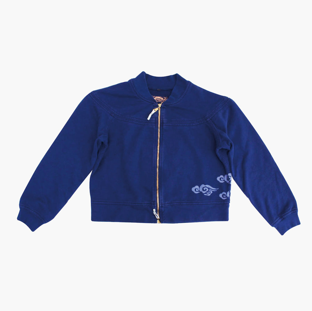 Unisex Hoodless Double Zip Jacket with Clouds - Ku Brands