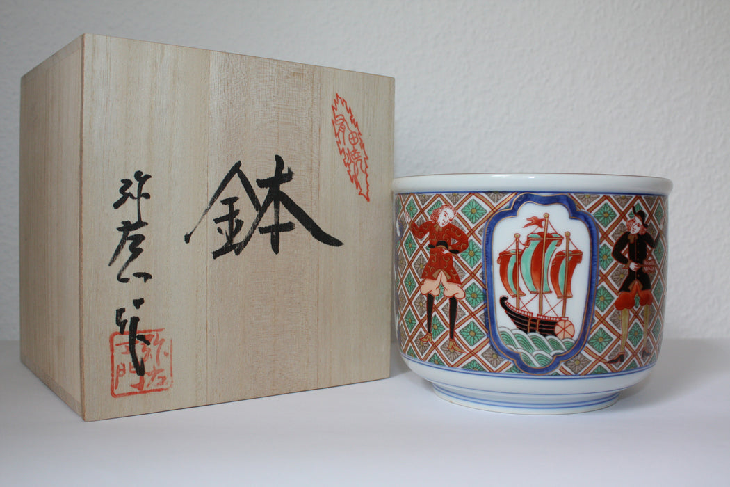 Imari Porcelain Bowl with Dutch Ship Motive, from Arita Japan - Ku Brands