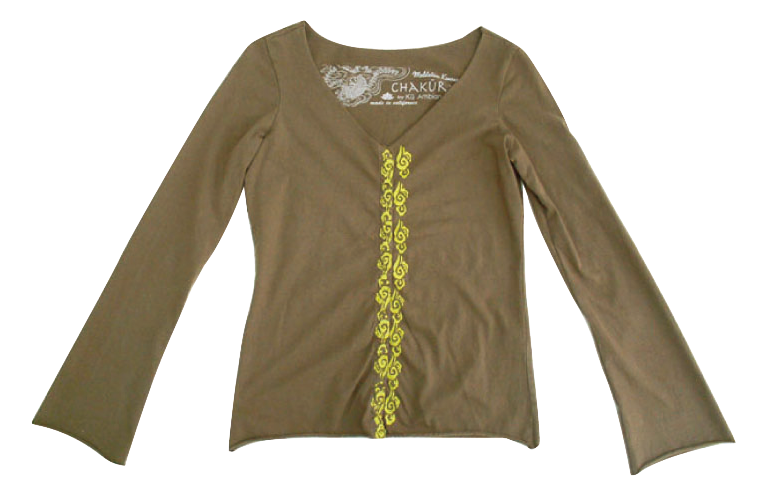 Ladies Snap Up Long Sleeve Raw Edge Top with Clouds