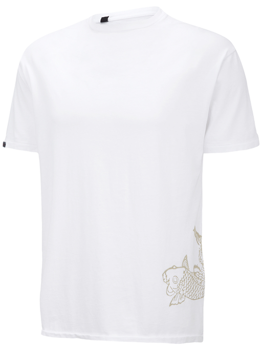 Supima Cotton Mens Short Sleeve Round Neck T-Shirt with Koi Fish